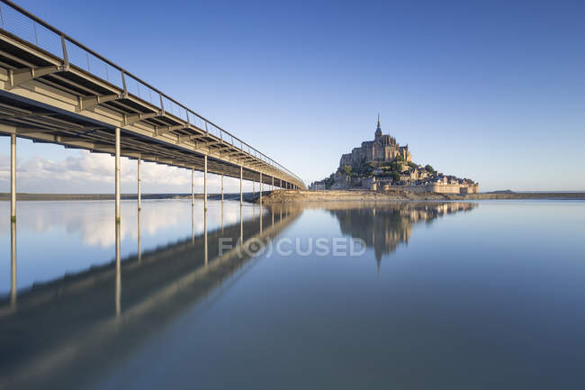 France, Normandy, view to lighted Mont Saint-Michel, blue hour — Stock Photo