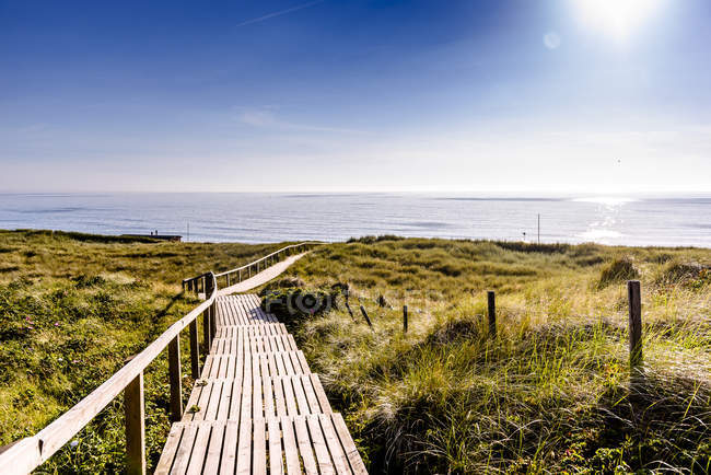 Germany, Schleswig-Holstein, Sylt, wooden walkway through dunes — Fotografia de Stock