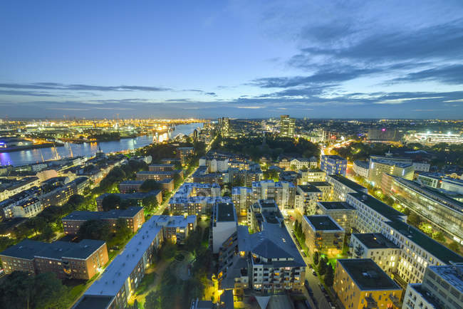 Germany, Hamburg, cityscape in the evening — Stock Photo