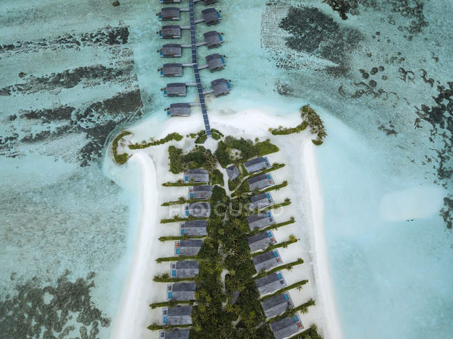 Maldives, Aerial view of water bungalows — Fotografia de Stock