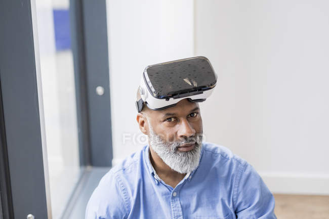 Portrait of african american businessman with Virtual Reality Glasses — Stock Photo