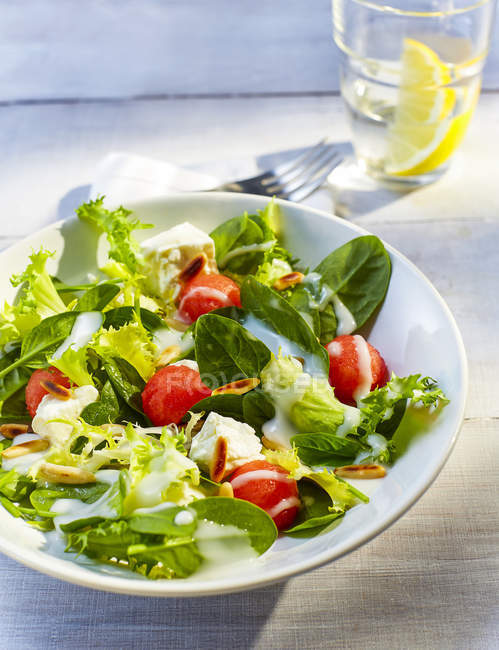 Mixed salad with water melon and roasted pine nuts — Stock Photo