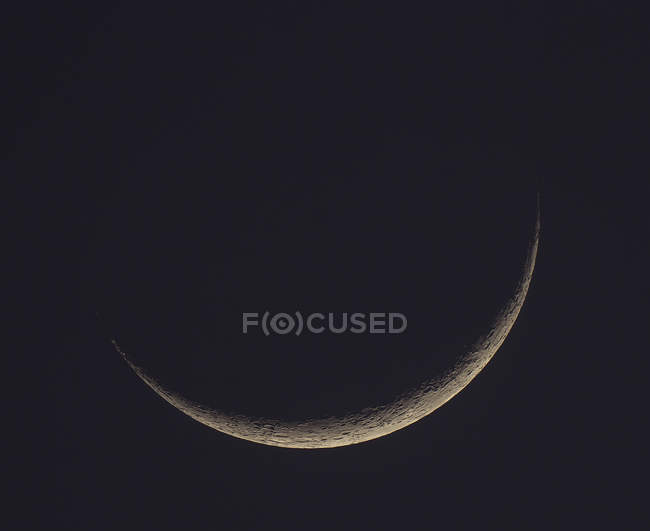 Germany, Hesse, Hochtaunuskreis, new moon crescent with craters — Stock Photo