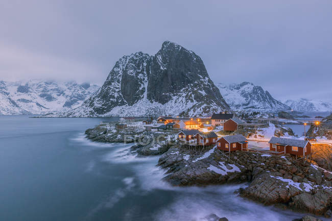 Norwegen, lofoten, hamnoy am Abend — Stockfoto