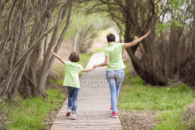 Vista posteriore di madre e figlia che camminano mano nella mano sul lungomare — Foto stock