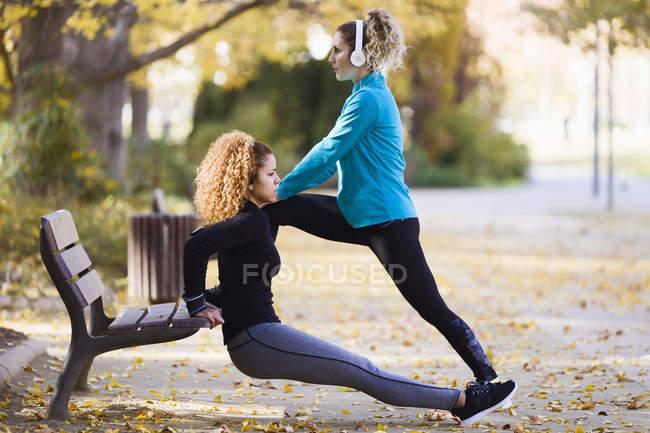 Duas jovens esportivas que se alongam no parque — Fotografia de Stock