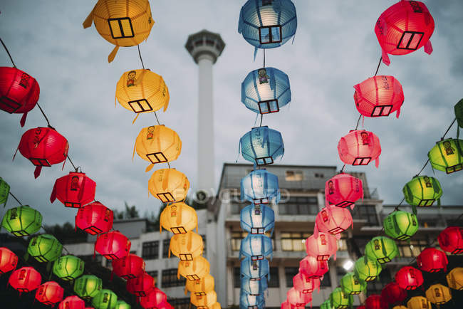 South Korea, Seoul, colorful lanterns, Busan Tower in the background — Stock Photo