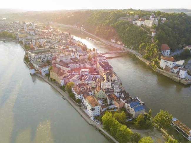 Germany, Bavaria, Passau, confluence of three rivers, Danube, Inn and Ilz — Fotografia de Stock