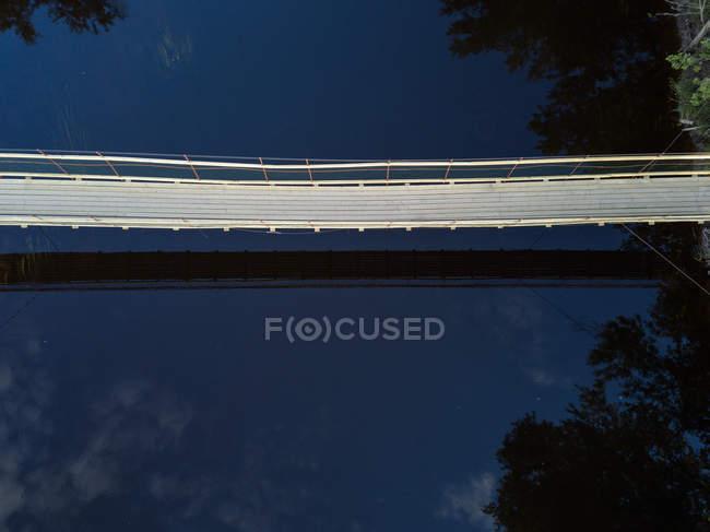Россия, Ленинградская область, Тихвин, Воздушный вид на реку Тихвинка и пешеходный мост — стоковое фото
