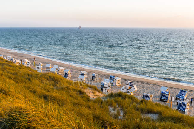 Alemanha, Schleswig-Holstein, Sylt, praia e cadeiras de praia encapuçado vazias no por do sol — Fotografia de Stock