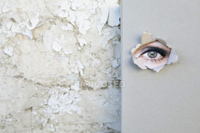Livro com o olho olhando através da tampa encostada contra a parede intempérie — Fotografia de Stock