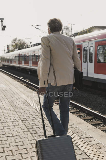 Rear view of mature businessman walking at train platform with suitcase — Stock Photo