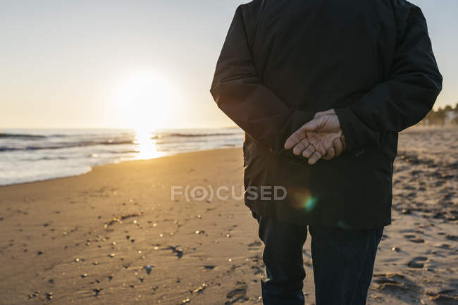 Rear view of old man keeping hands behind back and walking on sandy beach, partial view — Stock Photo