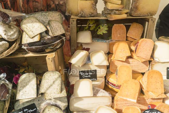 Франция, Париж, презентация сырного магазина — стоковое фото