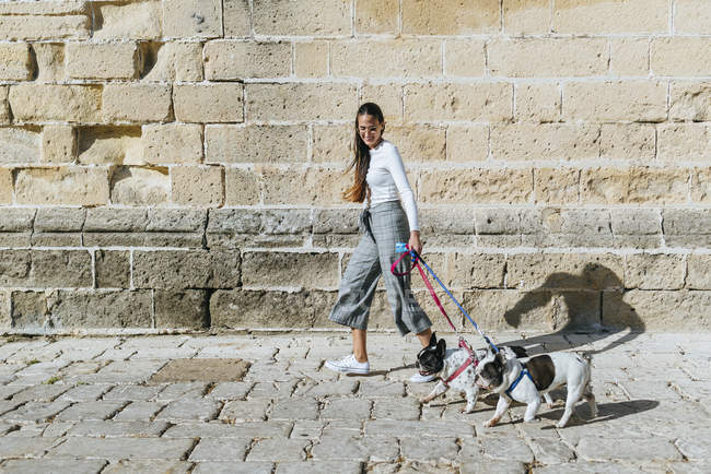 Young woman with her two dogs — Stock Photo