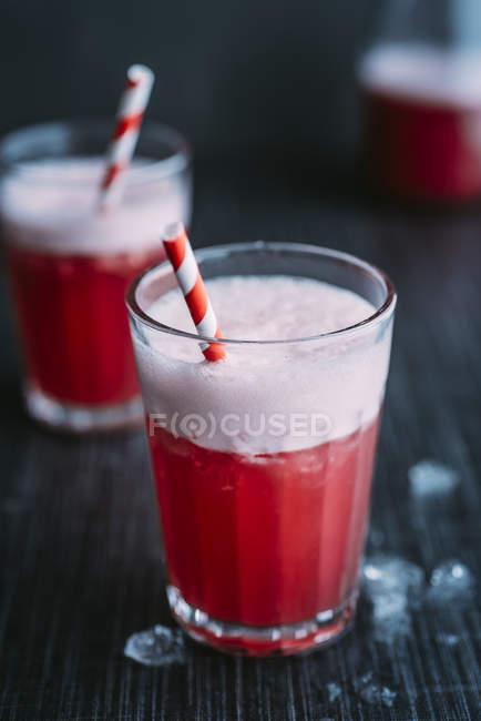 Напиток: Компель, напиток с имбирем, яблочным уксусом, кокосовой водой, клюквенным соком, лимоном, крестным льдом, медом — стоковое фото