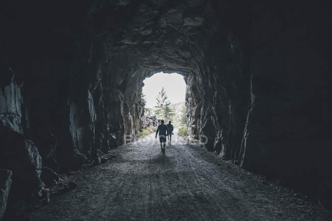 Канада, Британская Колумбия, Келоуна, каньон Майра, туристы по железной дороге долины Кеттл, пересекающие туннель — стоковое фото