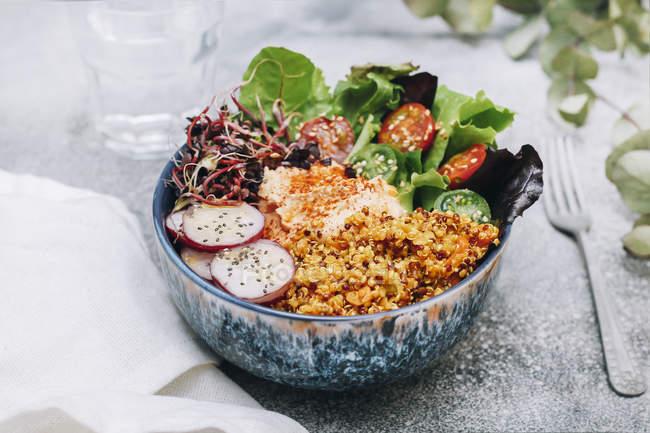 Vegane Buddha-Schale mit Hummus, Quinoa mit Curry, Salat, Sprossen, grünen und roten Kirschtomaten, Rettich in Scheiben und Sesam und Mohn — Stockfoto