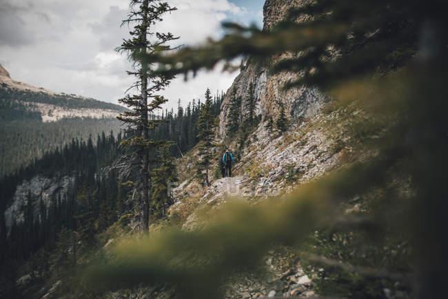 Canada, British Columbia, Yoho National Park, two men hiking at Mount Burgess — Stock Photo