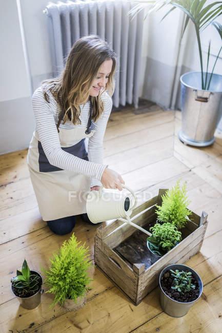 Lächelnde Frau gießt Pflanzen zu Hause — Stockfoto