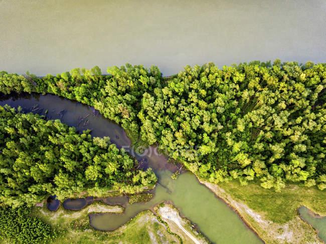 Alemanha, Baviera, Passau, vista aérea do Rio de Danúbio — Fotografia de Stock