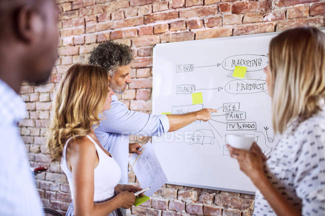 Business team working together on whiteboard at brick wall in office — Stock Photo