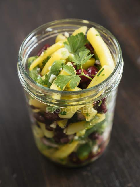 Frasco da salada de três feijões — Fotografia de Stock