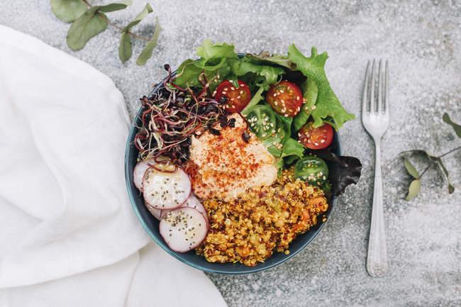 Vegane Buddhaschale mit Hummus, Quinoa mit Curry, Salat, Sprossen, grünen und roten Kirschtomaten, in Scheiben geschnittenem Rettich und Sesam und Mohn — Stockfoto