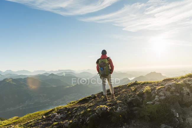 Austria, Salzkammergut, Caminante de pie en la cumbre, mirando a la vista - foto de stock