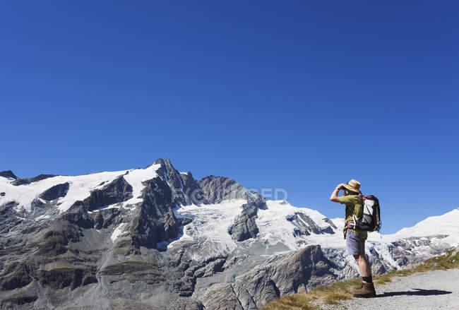 Austria, Carinzia, uomo, escursionista con binocolo che guarda Grossglockner picco, Parco Nazionale degli Alti Tauri — Foto stock