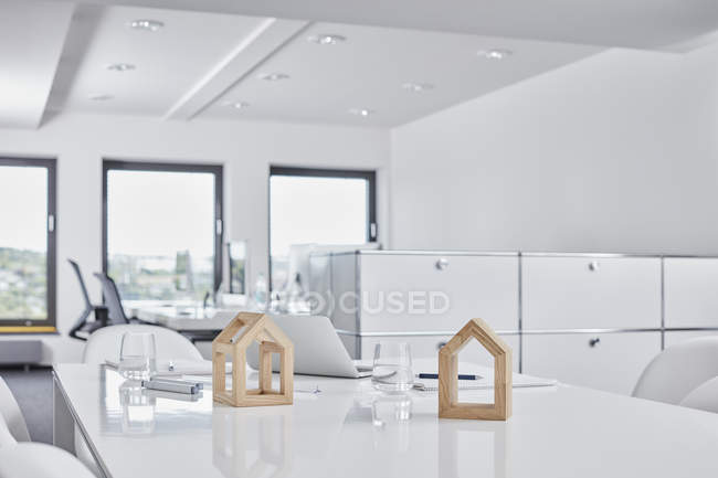 Architectural models on desk in office — Stock Photo