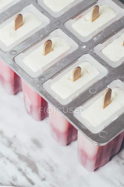 Sucettes glacées maison aux fraises et au yogourt — Photo de stock