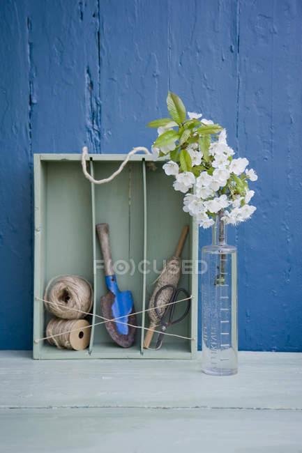 Upcycling de una caja de vino a un estante - foto de stock