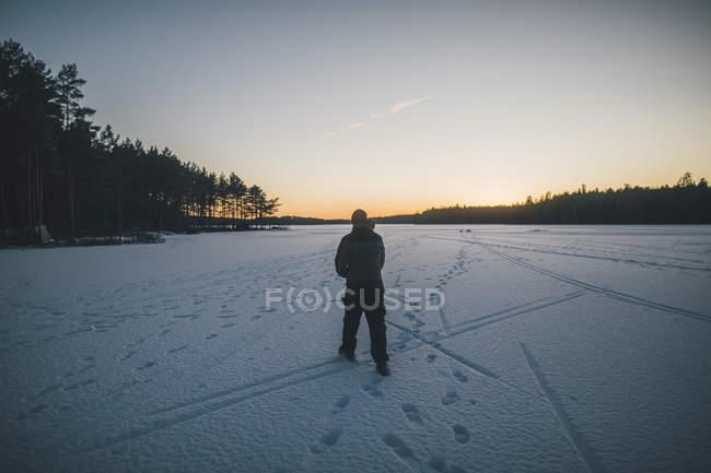 Sweden, Sodermanland, man walking on frozen lake Navsjon in winter — Stock Photo