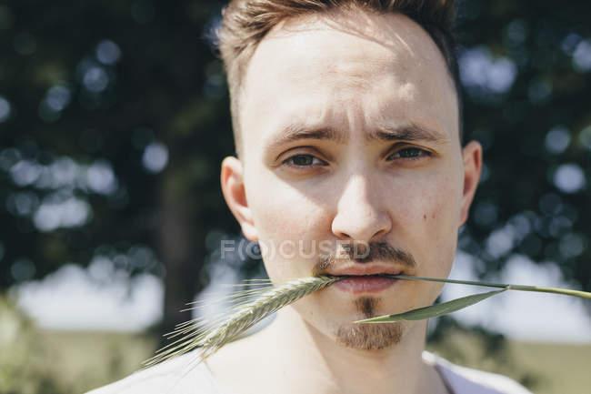 Portrait of young man with stalk in mouth — Stock Photo