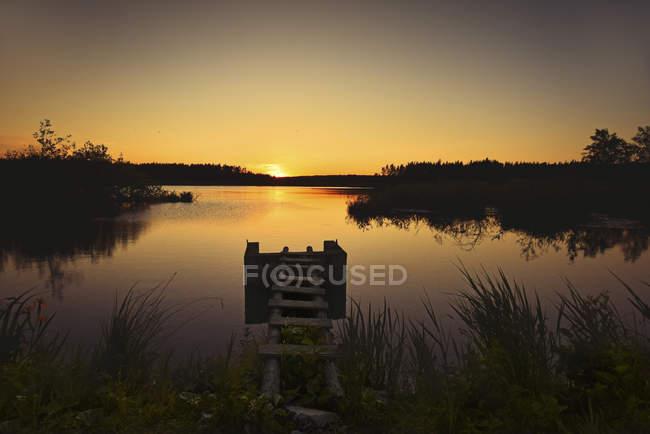 Германия, Верхний Пфальц, Russweiher на восходе солнца — стоковое фото