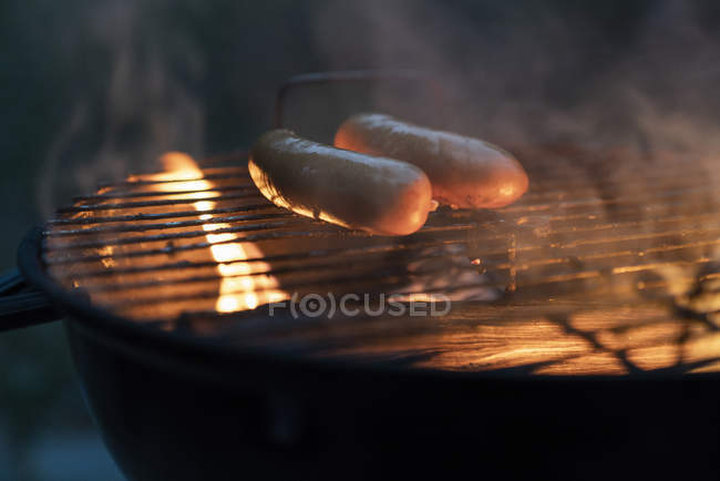 Close up of Sausages on a barbecue grill — Stock Photo