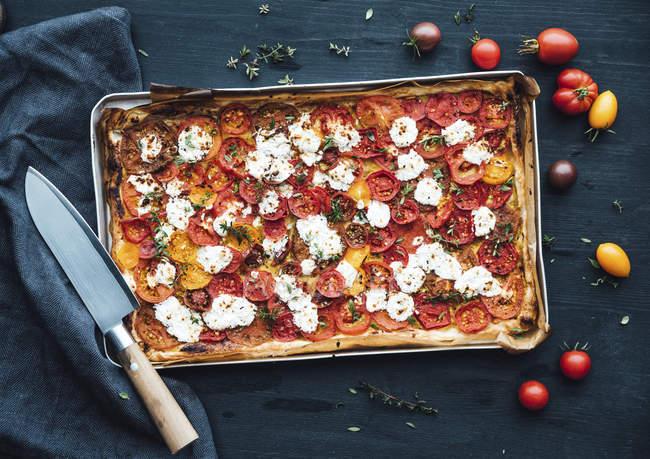 Tarte aux tomates au fromage de chèvre et thym à la moutarde — Photo de stock