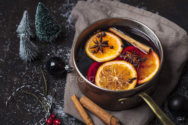 Pot of mulled wine in the pot — Stock Photo