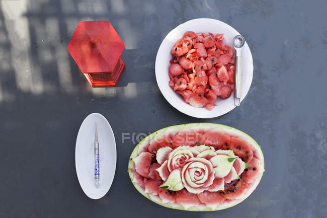 Top view of Decorated watermelon — Stock Photo