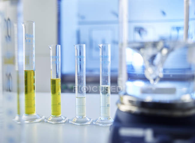Close up of Test tubes in laboratory — Stock Photo