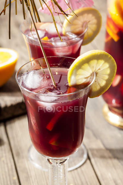 Glass of Sangria with fresh fruits — Stock Photo