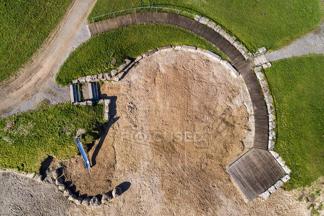 Germany, Baden-Wuerttemberg, aerial view of Aichstrut reservoir, empty basin — Stock Photo