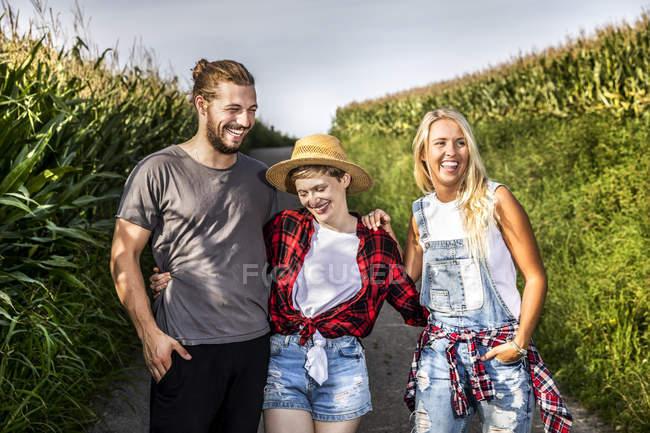 Amigos felices en el camino de campo en un campo de maíz - foto de stock