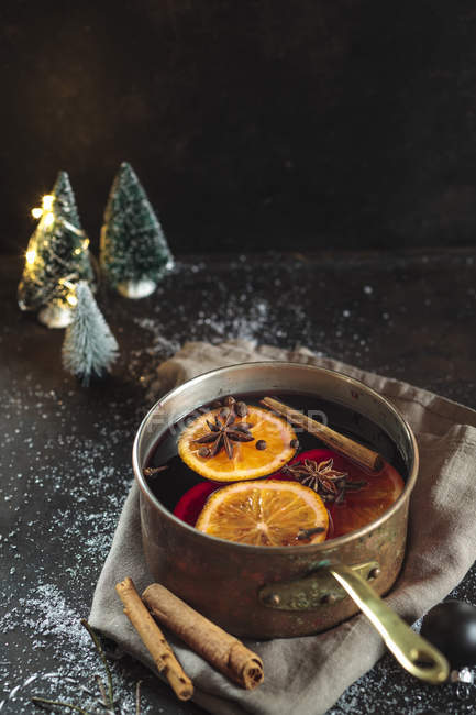 Close up of Pot of mulled wine — Stock Photo
