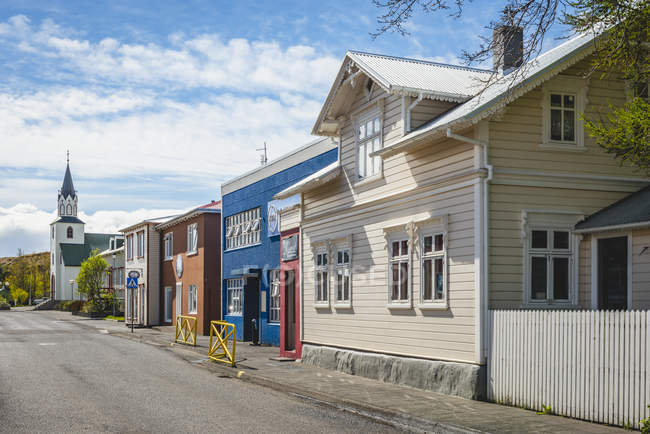 Iceland, Saudarkrokur, townscape, houses and church — стокове фото