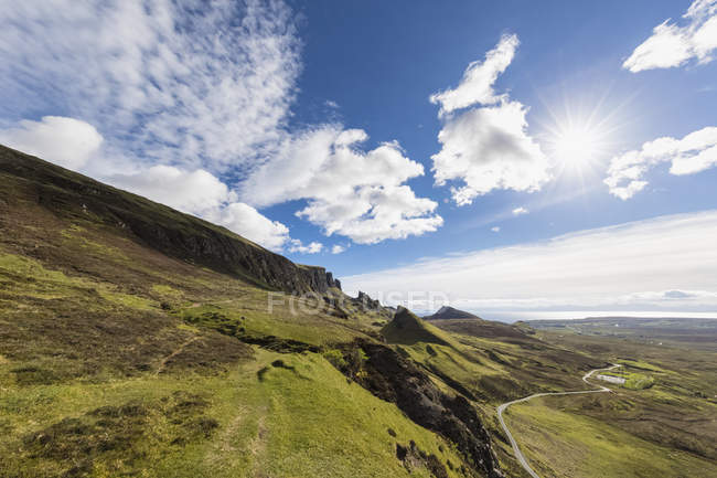 UK, Scotland, Inner Hebrides, Isle of Skye, Trotternish, Quiraing, view towards The Prison and Meall na Suiramach — Stock Photo