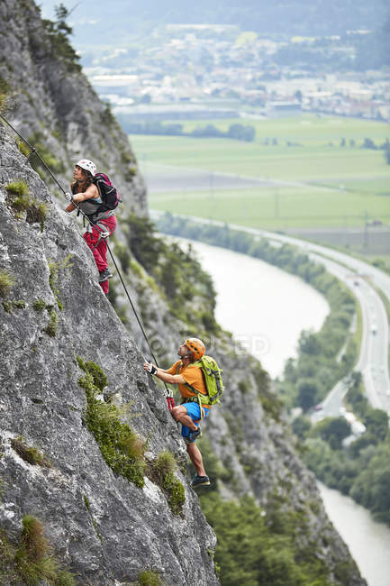 Austria, Tyrol, two rock climbers in Martinswand — Stock Photo