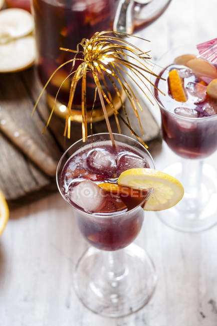 Decorated glass of Sangria with fresh fruits — Stock Photo