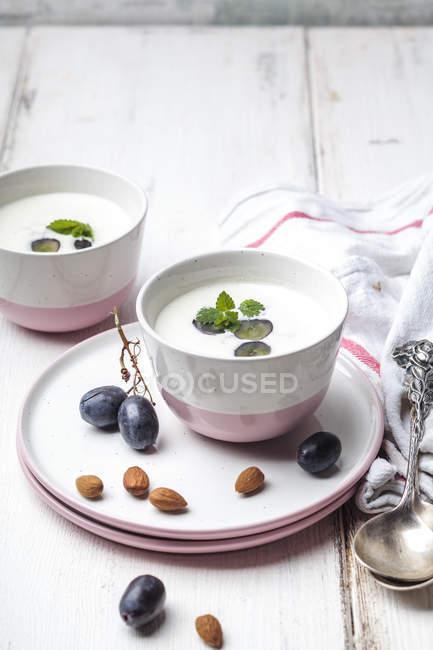 Ajo Blanco, white gazpacho, spanish cold soup, almonds and blue grapes — Stock Photo